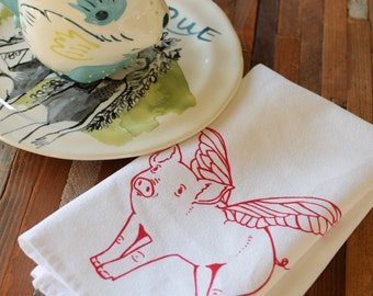 Cloth Napkins - Screen Printed Cloth Napkins - Eco Friendly Dinner Napkins - When Pigs Fly - Reusable Cotton Cloth Napkins - Printed Napkins