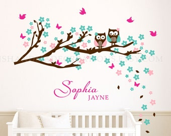 Owl Wall Decal Cherry flowers and birds Personalized Nursery Decor Monogram for Girls extra large gift for baby