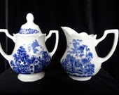 Merrie England by J & G Meakin Ironstone Creamer and Sugar Bowl Set Home and Garden Kitchen and Dining Serve Ware Tableware Coffee and Tea
