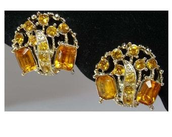 Jonquil amd Topaz Rhinestones. Clip-On Earrings Apparel & Accessories Jewelry Vintage Jewelry Earrings Clip On Rhinestone