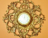Vintage Gold Syroco Clock - Hollywood Regency Clock - Battery Operated Clock