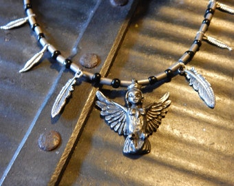 WINGED MAIDEN -Harpy with feathers and hematite necklace OOAK