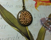 Delicate Mustard Seed Necklace in Antique Bronze