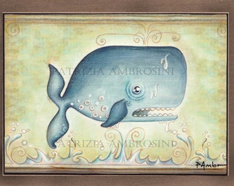 Open Edition ACEO ....Floating whale.. . card