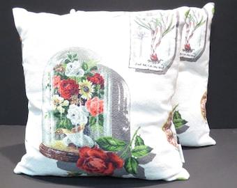 Domed Flower Garden Mid Century Barkcloth Pillows Vintage 1950s Fabric Pair Home Decor Pillows