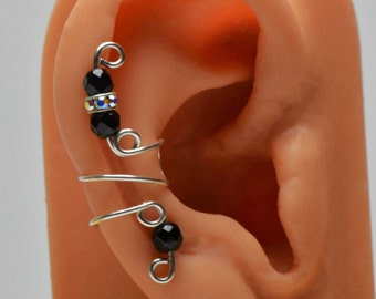 Ear Cuff Genuine Faceted Black Onyx Gemstones With Sterling Swarovski AB Rondelle