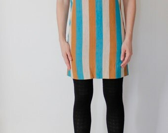 Vintage 60's dress, vertical thick stripes, beige turquoise & warm brown - Small