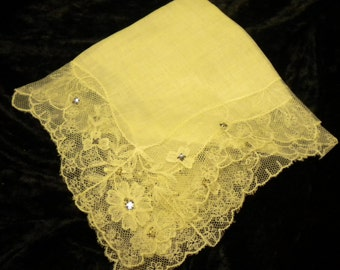 x Like New but vintage lace white Hanky with Crystal accents (FF229)