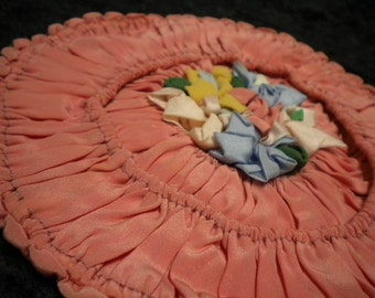 Absolutely Beautiful Ribbon Work Round Ruched Pillow Cover in Salmon Pink (FFs1265)