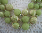 Vintage Lime Green Bead Necklace