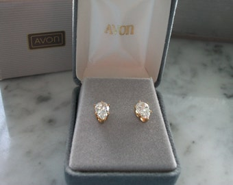 Avon Cubic Zirconia Goldtone Teardrop Stud Earrings