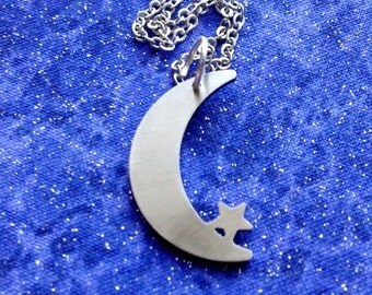Half Crescent Moon and Star Charm Necklace Key Chain or Pendant