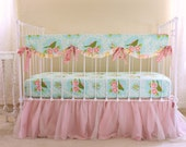 Turquoise and Pink Bumperless Bedding Set - Turquoise Mockingbird