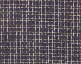 Navy Blue Square Homespun Fabric  - 1 yard-  Rustic/Primitive