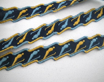 Skier Blue & Yellow Novelty Trim 4+ Yards Embroidered Skiing