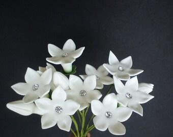 sugar stephanotis white with real rhinestones (not edible) set of 12