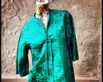 60s Elegant Asian Satin Coat