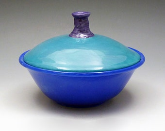 Ceramic Lidded Turquoise Blue  Candy Dish-  Nut Dish - Trinket Bowl - Wheel Thrown