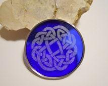 Blue Glass Celtic Knot Suncatcher