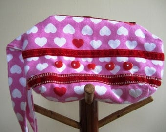 Wrist Purse Hearts 80s Flannel Zipper Wristlet Pink White Red Eighties Bag Valentine's Day - Size Small