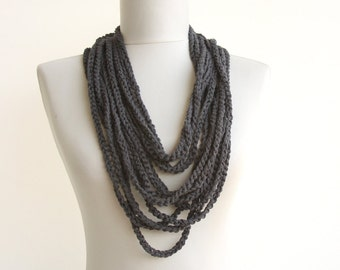 Dark grey crocket necklace women accessory skinny scarf charcoal gray