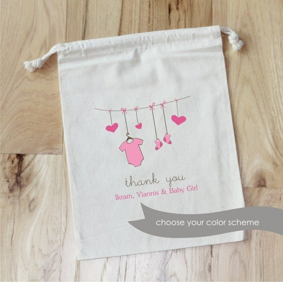 BABY SHOWER - Personalized Favor Bags - Set of 10 - Clothesline - Onesie - Baby Booties