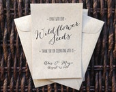 Plant with Love /// Kraft Paper Flower Seed Favor Envelopes /// Wedding or Baby/Bridal Shower