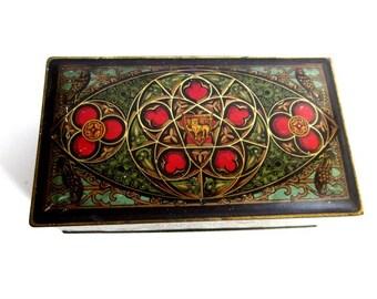 Vintage Celtic Tin Box - Lion Bird Floral Decor