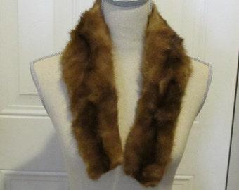 Brown Mink Fur Collar...Soft and Stylish..Interesting Shape