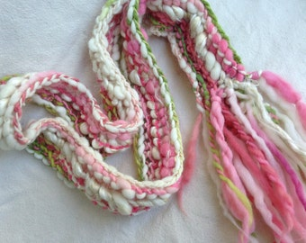 Handknit Art Yarn Scarf handspun hand dyed hand knitted gift Holidays Christmas warm scarves pink green white felt leaves gypsy