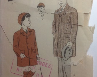 Vintage Sewing Pattern 1940's  Boys Classic Single Breasted Coat and Cap Size 6