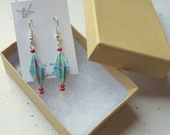 Origami Lantern Diamond Earrings in Blue and Pink