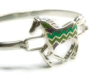 CIJ  Horse Bangle Bracelet - Chevron Bangle Bracelet - Inlay Horse Chevron Jewelry - Bangle Bracelet with Inlay Chevron Horse