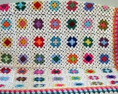 Crochet Granny Square Afghan Blanket Cottage Chic Ivory Sofa Throw Granny Chic
