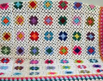 Crochet GRANNY SQUARES Afghan Blanket Ivory Sofa Throw
