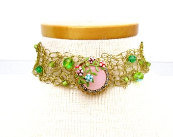 MADE TO ORDER Custom Order Necklace Choker Wedding Statement Recycled Repurposed Wire Crochet Vintage Finding Rhinestones Pink One Of A Kind