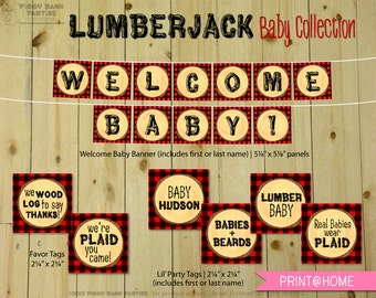 LUMBERJACK Baby Collection | Print at Home Buffalo Plaid Flannel Baby Shower Party Decorations | Log Cabin | Hunter | DIY Printable