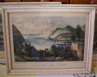 Set of three Framed Vintage Currier and Ives Lithographs