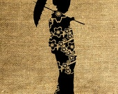 INSTANT DOWNLOAD Silhouette of a Japanese Girl in Black and White - Image Transfer - Digital Sheet by Room29 - Sheet no. 213