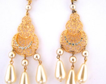 60s Rhinestone Gold Pierced Earrings with Large Teardrop Pearl New Old Stock