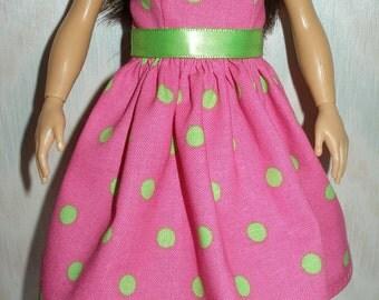 Handmade doll clothes - pink and green polka dot dress