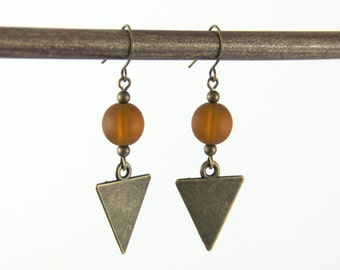 Geometric Drop Earrings - Matte Brown Sienna Cognac Sea Glass Antique Brass Geometric Triangle Modern Neutral Dangle Earrings
