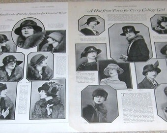 """Ladies Fashions """"Hats"""" Advertising 4 Pages """"The Ladies Home Journal"""" Circa 1924"""