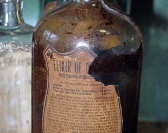 Antique Apothecary Elixir Bottle