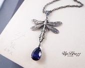 Victorian dragonfly necklace, Swarovski violet crystal, aged stelring silver plated brass,soldered