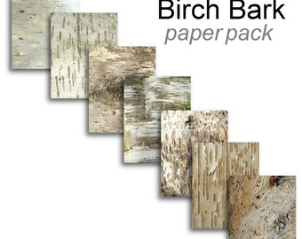 BIRCH BARK Paper Pack- Digital Paper Pack -7 Birch Tree Bark Printable Papers,Instant Download Digital Printable Adirondac Lodge look