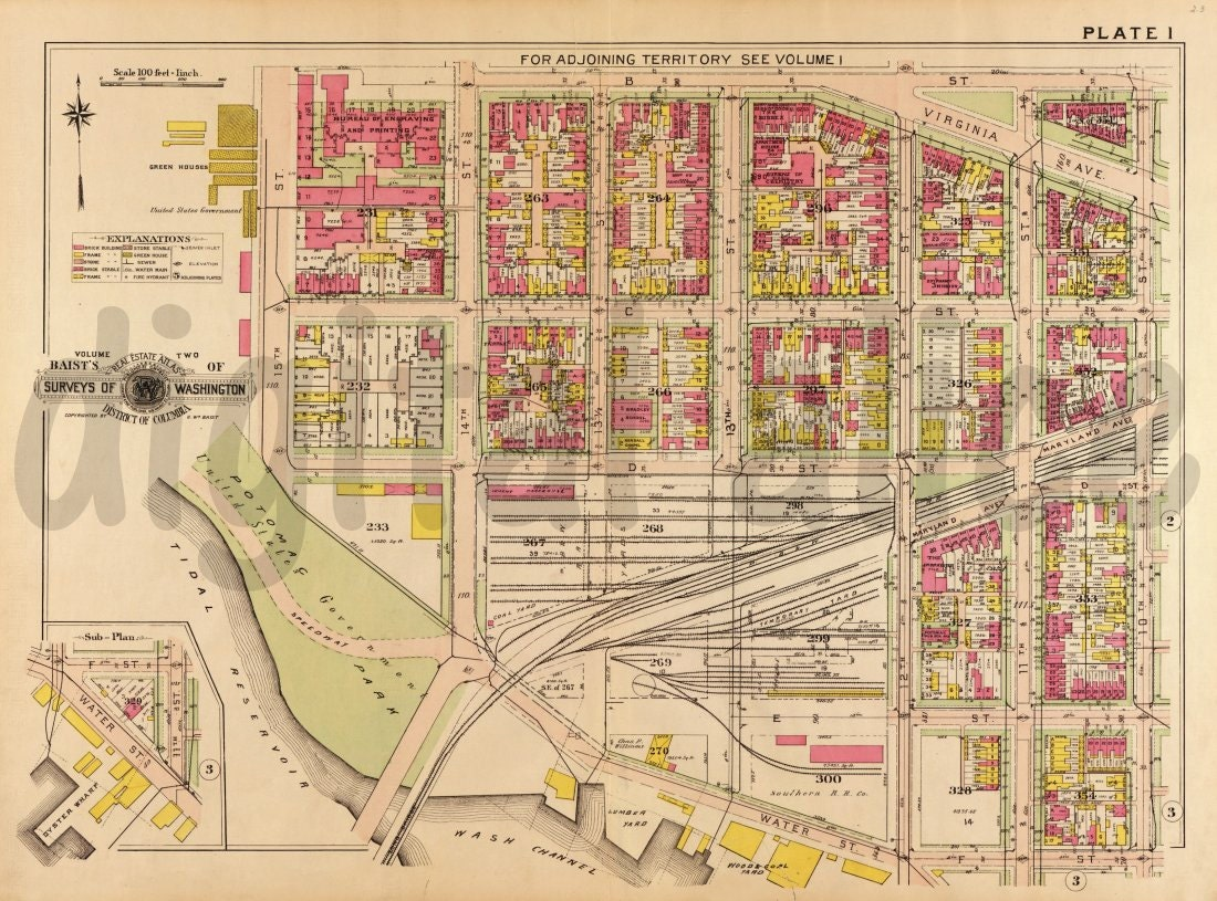 Vintage WASHINGTON DC WATERFROnT MAP Old Map  Washington - Washington dc map download