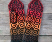 Wool Mittens - Fall Gloves - Red and Orange Tones Mittens - Gift Ideas for Her - Winter Accessories - Bohemian Accessories nO 78.