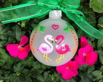 Flamingo Wedding Ornament - Destination Wedding, Miami, Beach Vacation - Pink Flamingo Personalized Hand painted Keepsake, Glass Bauble