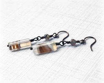 Agate Earrings, Gemstone Earrings, Drop Earrings, Copper Earrings, Boho Earrings, Tribal Earrings, Rustic Earrings, Earthy Earrings
